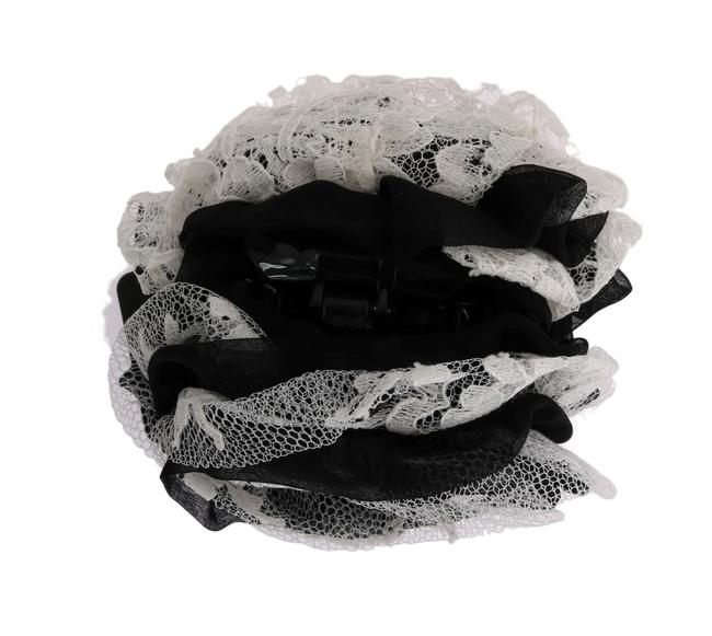 Item - Dolce & Gabbana Black White Floral Lace Crystal Claw One Size Hair Accessory