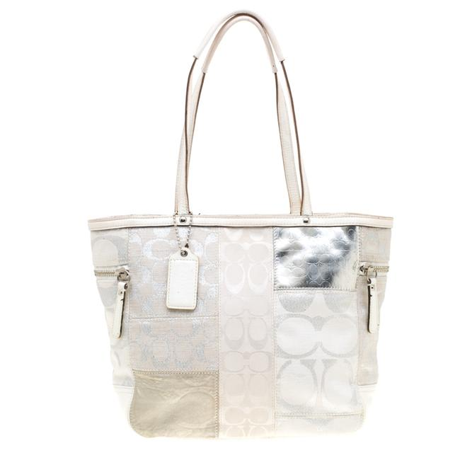 Item - White/Silver Canvas and Leather Patchwork Shopper Tote