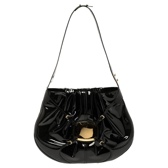 Item - Black Patent Leather Clover Hobo Bag