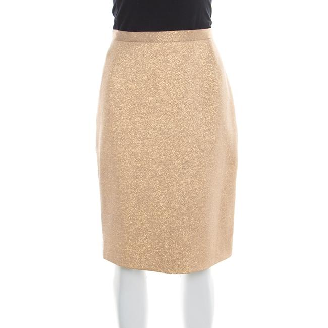 Item - Dolce & Gabbana Matte Gold Cloque Knit Pencil Skirt