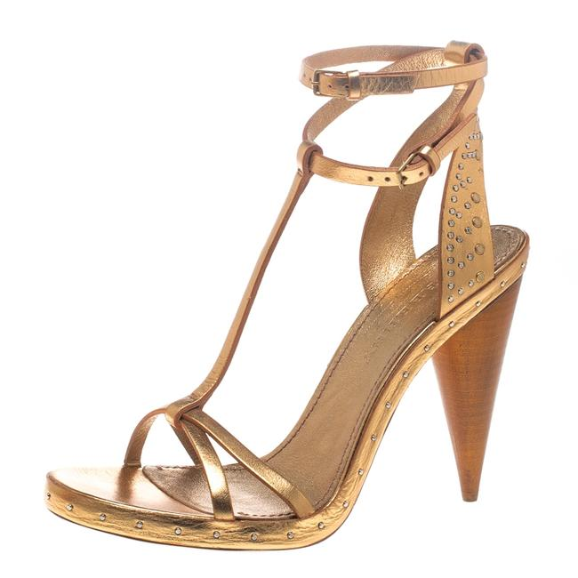 Item - Metallic Gold Leather Hans T Strap Size 39 Sandals