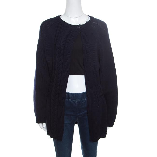 Item - Navy Blue Chunky Cable Knit Open Front Cardigan