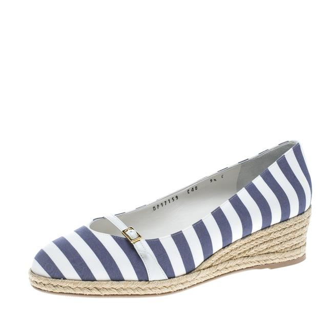 Item - Two Tone Striped Canvas Audrey Wedge Espadrille Size 40 Pumps