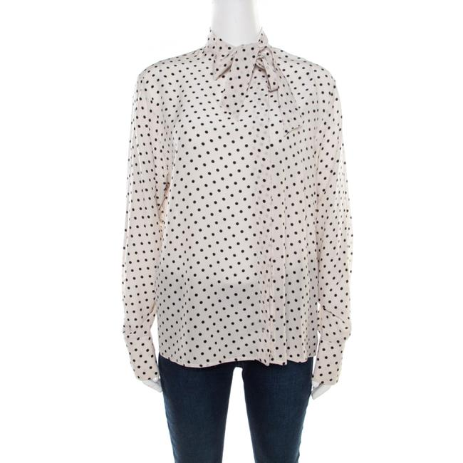 Item - Mist White and Black Polka Dotted Silk Neck Tie Detail Blouse