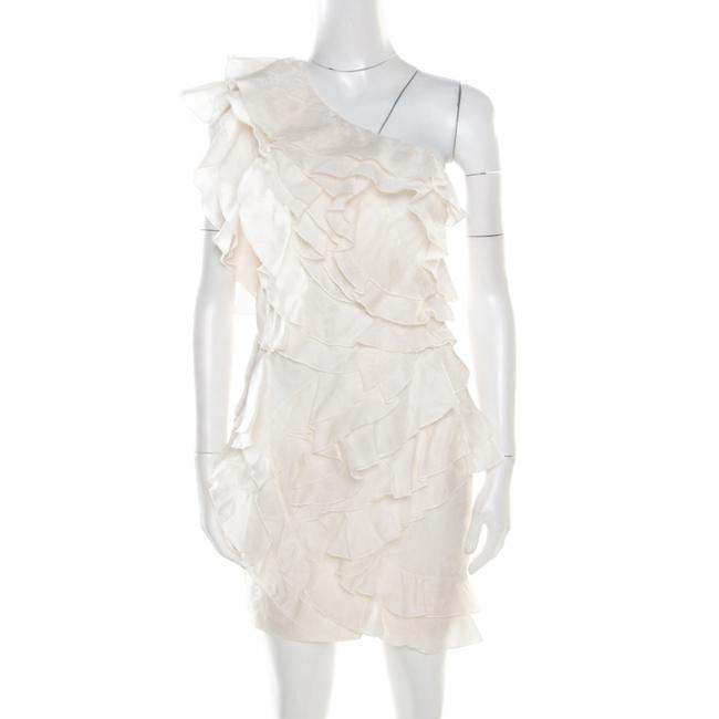 Item - Off White Floral Patterned Silk Ruffled Tiered One Shoulder