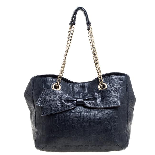 Item - Navy Blue Monogram Leather Audrey Tote