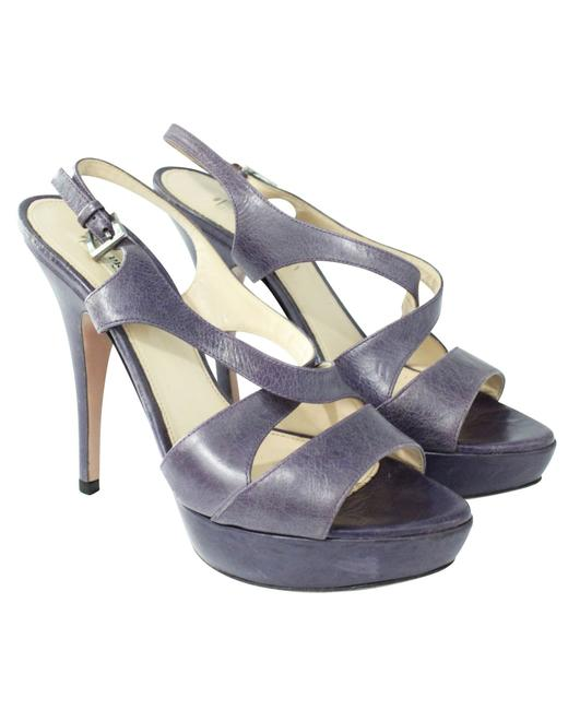 Item - Purple Leather Strappy High Heel Sandals -pre Owned Condition Formal