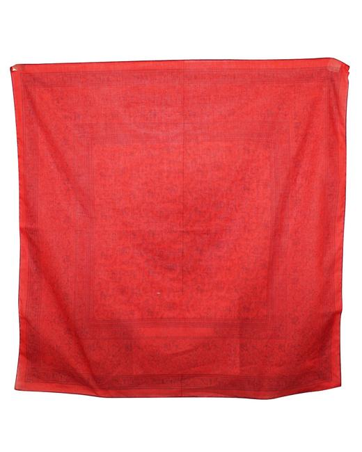 Item - Chasse En Indie Red Print Cotton -pre Owned Condition Scarf/Wrap