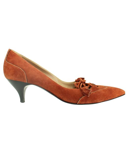 Item - Orange Suede Pointed Toe Kitten Heels -pre Owned Condition Good Formal