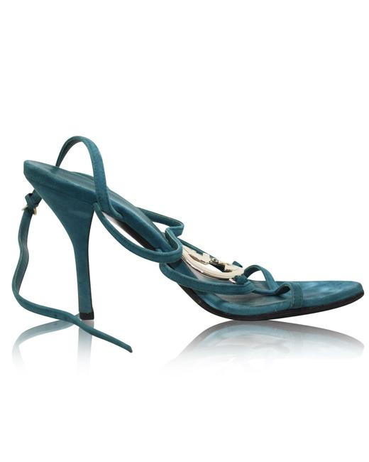 Item - Turquoise Green Strappy Heeled Sandals -pre Owned Condition Very Formal
