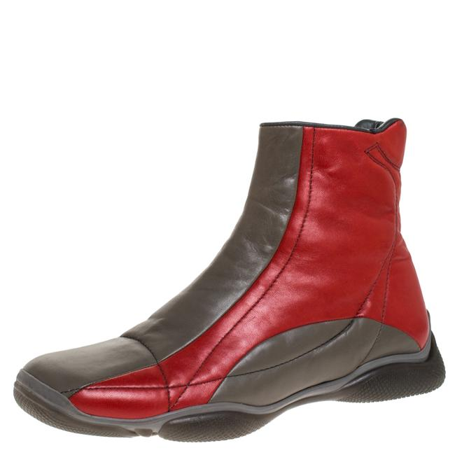 Item - Grey/Red Leather High Top Sneaker Boots Size 39 Athletic