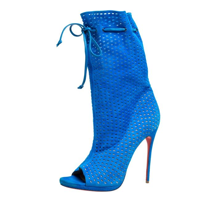 Item - Light Blue Perforated Suede Jennifer Wrap Size 41 Boots/Booties