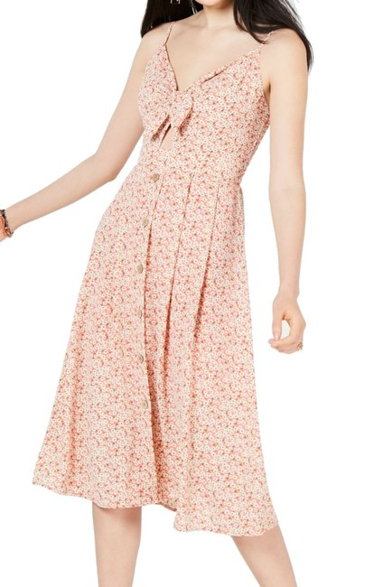 Item - Pink Small S Junior's A-line Ditsy Tie Button Front Cocktail Dress