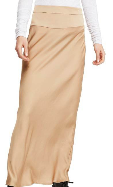 Free People Women's Maxi Skirt Solid Gold Size 8 Satin Flounce Hem Cocktail Dress Free People Women's Maxi Skirt Solid Gold Size 8 Satin Flounce Hem Cocktail Dress Image 1