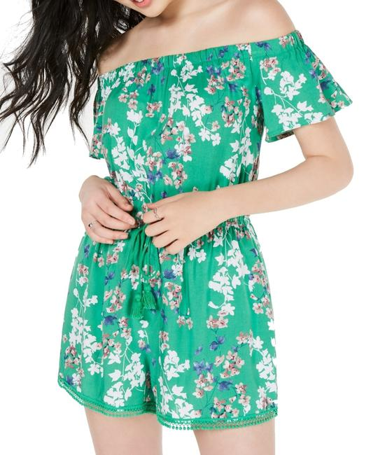 Item - Green Size Small S Junior Floral Off Shoulder Drawstring Romper/Jumpsuit