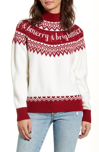 Item - L Women Sweater Red Size Large Shimmer Holiday Blouse