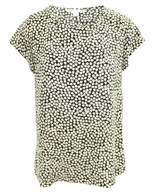 Item - Black and White Print Silk Top -pre Owned Blouse