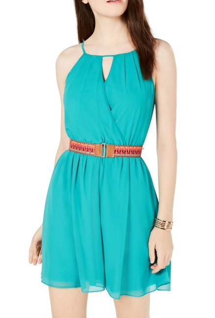 Item - Junior's Green Size Medium M Junior A-line Chiffon Belted Cocktail Dress