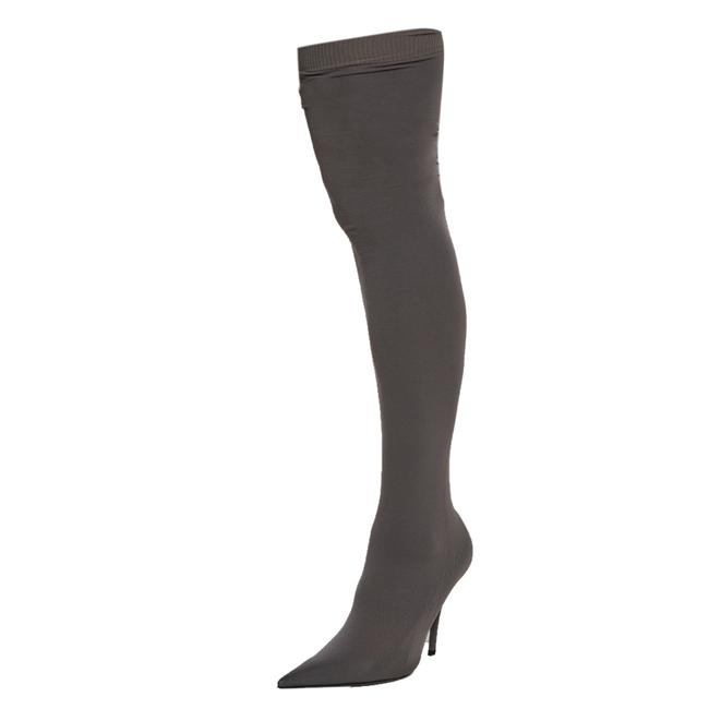 Item - Grey Spandex Knife Over The Knee Pointed Size 37 Boots/Booties
