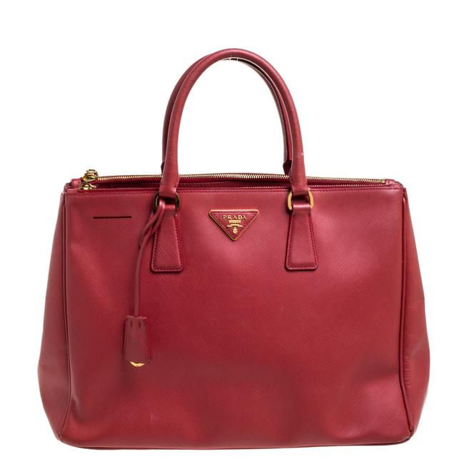 Item - Double Lux Red Saffiano Leather Large Zip Tote