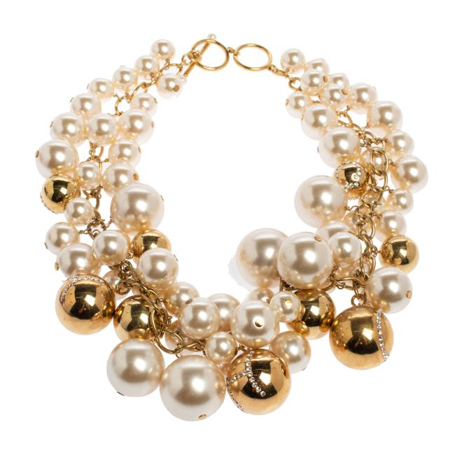 Item - Crystal Metal Bead and Faux Pearl Cluster Toggle Necklace Jewelry