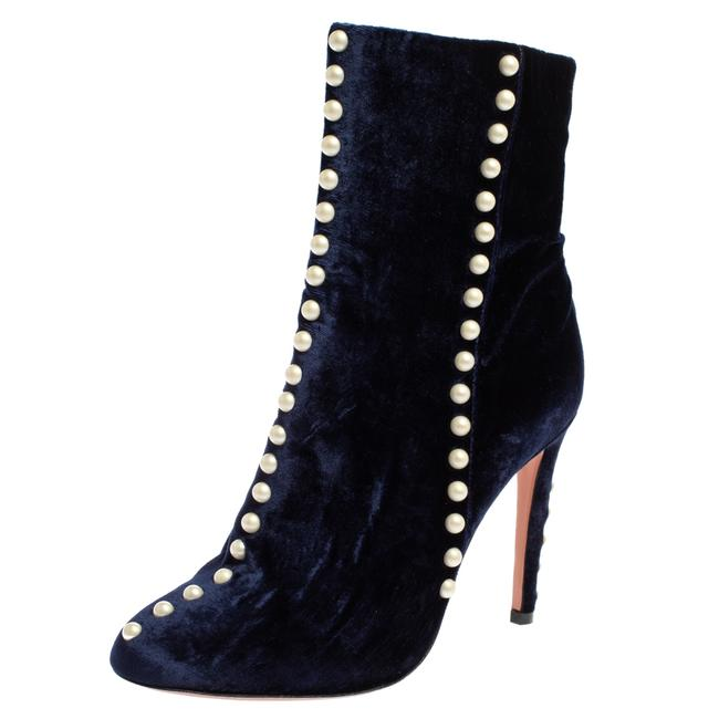 Item - Navy Blue Velvet Follie Pearls Ankle Size 36.5 Boots/Booties