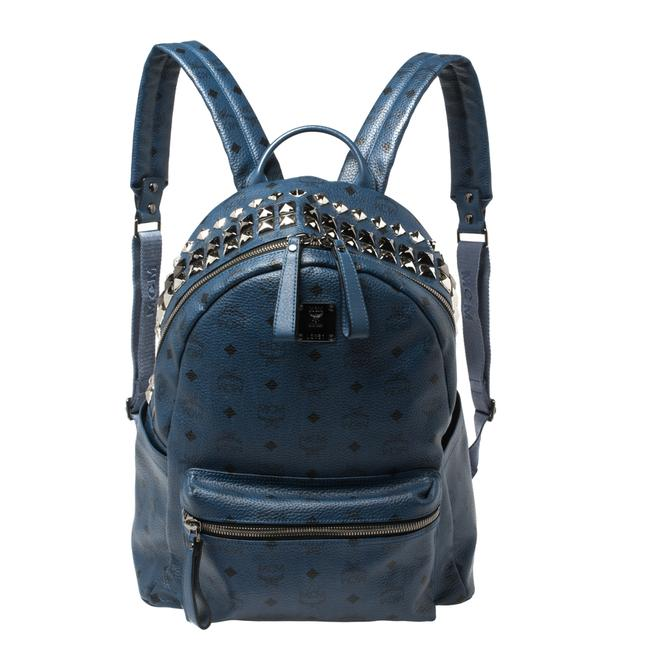 Item - Blue Visetos Coated Canvas Studded Stark Backpack