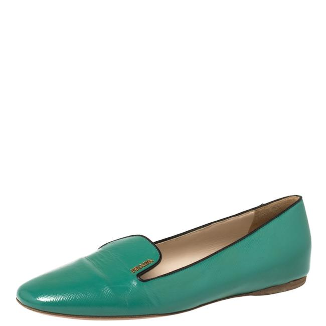 Item - Green Saffiano Patent Leather Smoking Slippers Size 38 Flats
