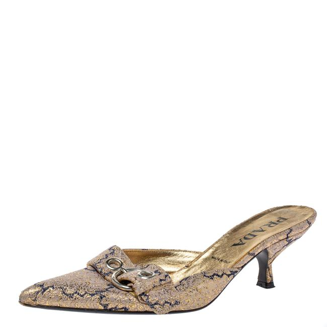 Prada Gold Fabric Buckle Pointed Mule Size 37 Sandals Prada Gold Fabric Buckle Pointed Mule Size 37 Sandals Image 1