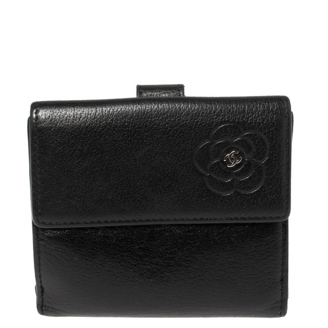 Item - Black Leather Camellia Embossed Compact Wallet