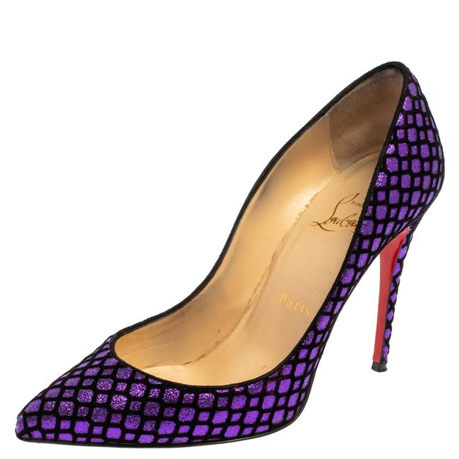 Item - Purple/Black Glitter and Velvet Pigalle Follies Size 36 Pumps