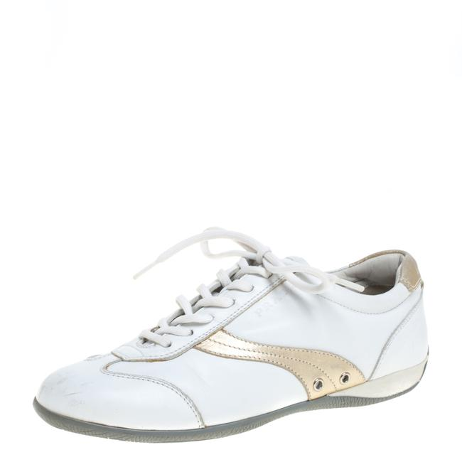 Item - White Leather Lace Up Low Top Sneakers Size 35.5 Athletic