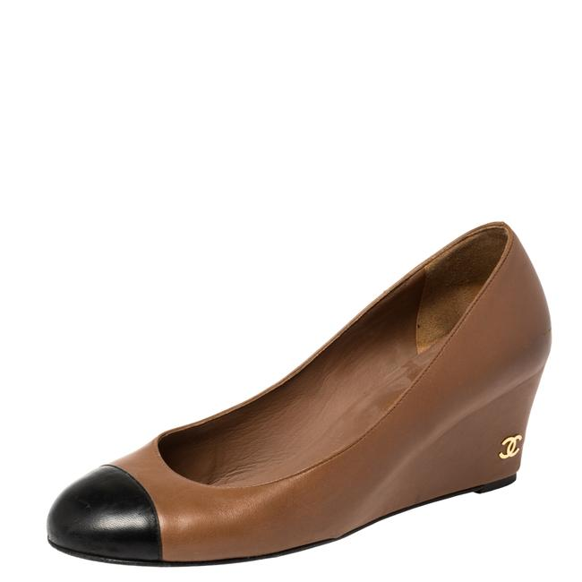 Item - Brown Leather Cap Toe Wedge Size 37 Pumps