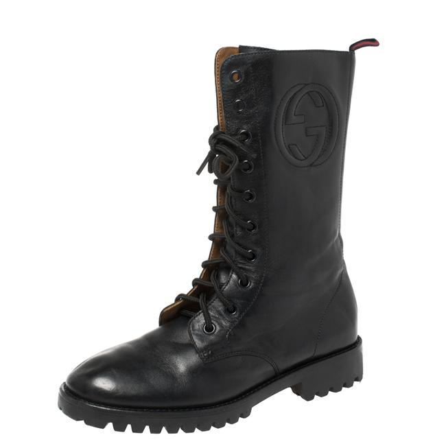Item - Deep Navy Leather Combat Size 35 Boots/Booties