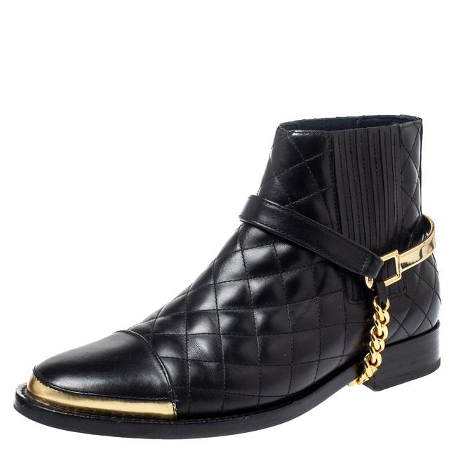 Item - Black Quilted Leather Chain Details Size 37.5 Boots/Booties
