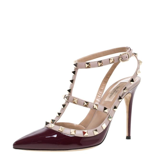 Item - Plum/Beige Patent Leather Rockstud Pointed Toe Ankle Strap Size 39 Sandals