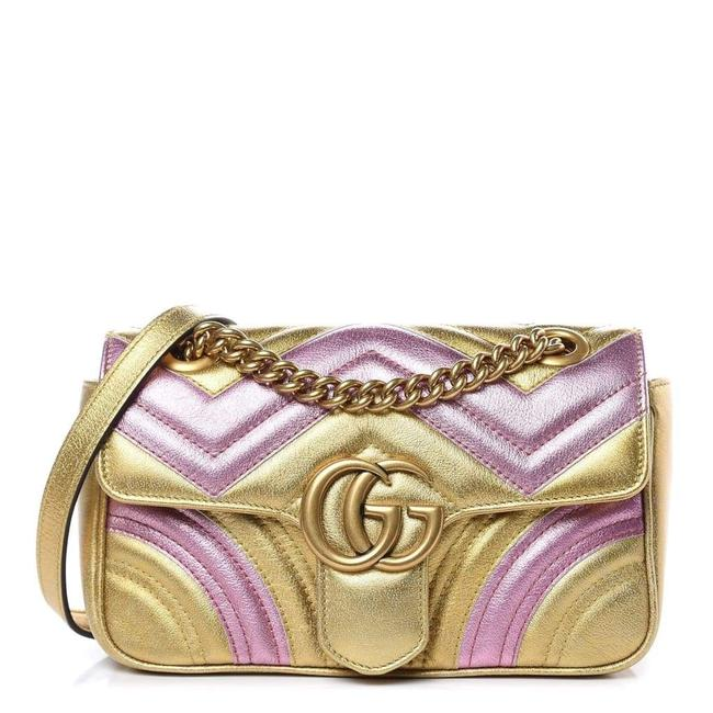 Item - Marmont Gg Large Quilted Metallic Leather It Shoulder Bag