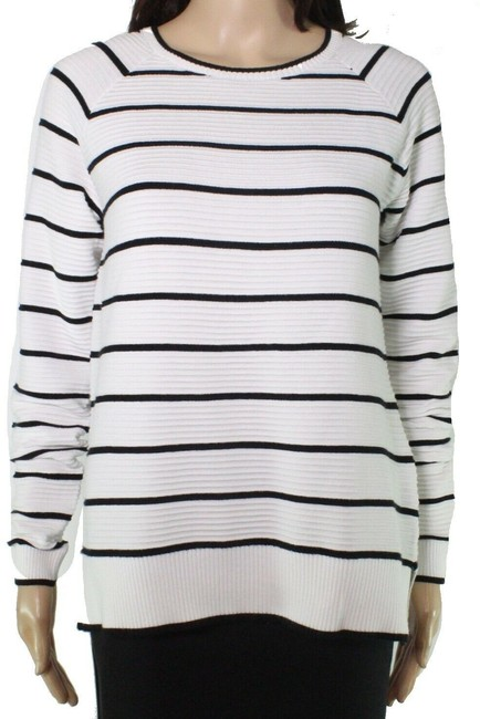 Item - XL Women's Black White Size Striped Ribbed Sweater/Pullover
