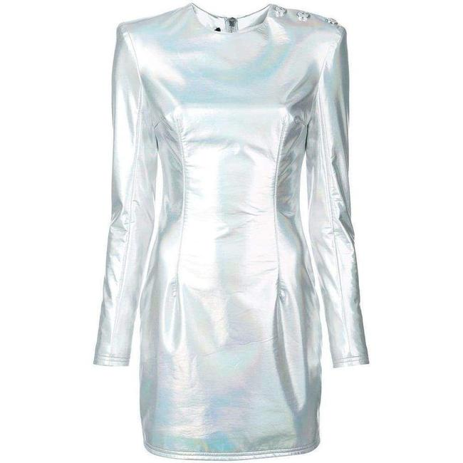 Item - Holographic Mini Silver Short Casual Dress
