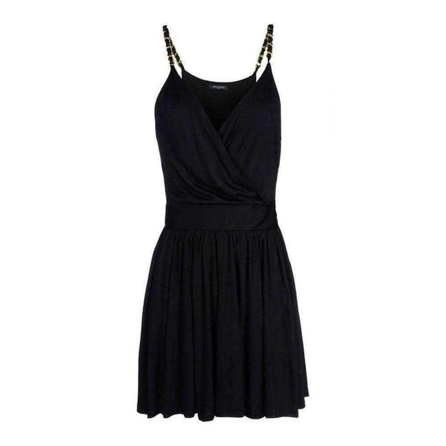 Item - Black Fitted Wrap Metal Chain Straps Silk Blend Short Casual Dress