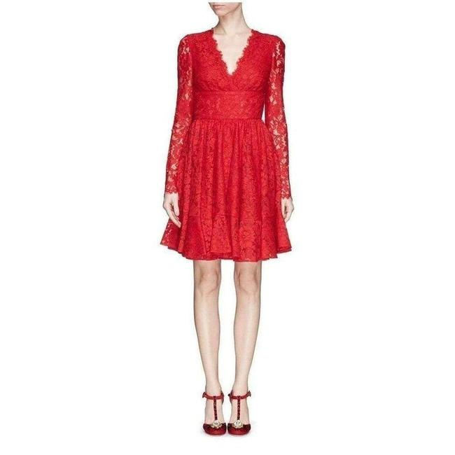Item - Dolce & Gabbana Red Fringe Trimmed Lace Flounce It 42 Short Casual Dress