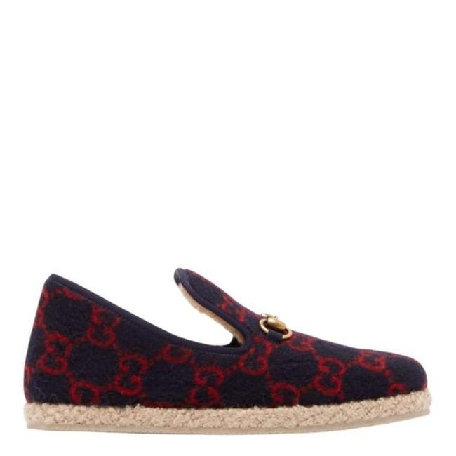 Gucci Navy & Red Wool Fria Gg Felt Slippers Espadrilles Gucci Navy & Red Wool Fria Gg Felt Slippers Espadrilles Image 1
