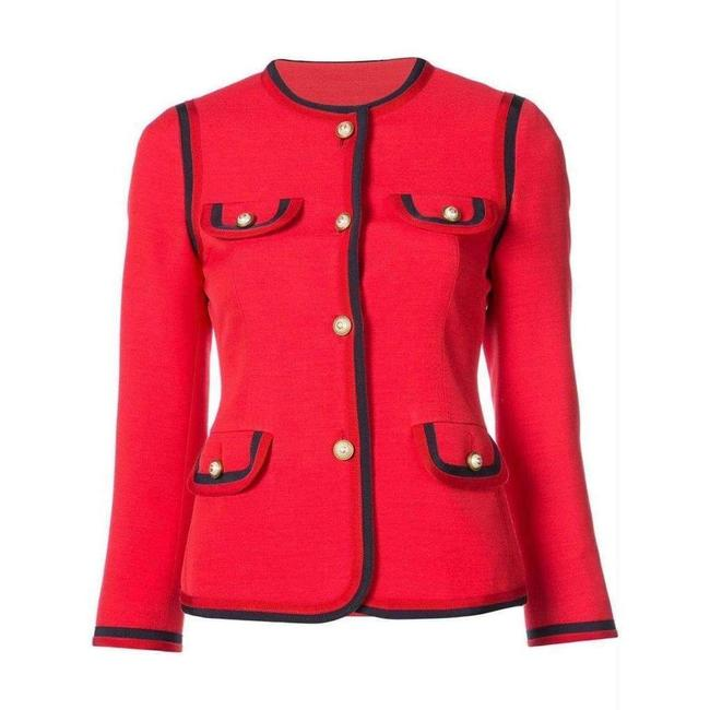 Item - Pearl Embellished Notched Collar Jacket It 42 Blazer