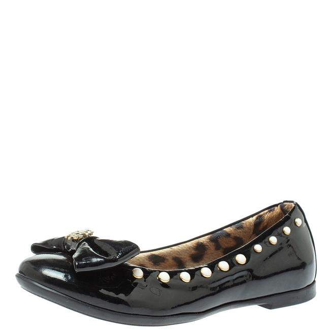 Item - Black Patent Leather Embellished Bow Ballet Size 37 Flats