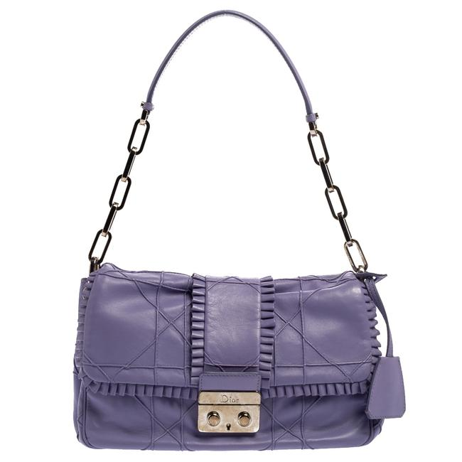 Item - Flap Purple Cannage Leather New Lock Ruffle Shoulder Bag