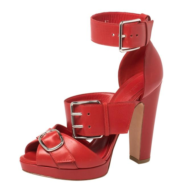 Item - Red Leather Buckle Strappy Platform Size 41 Sandals