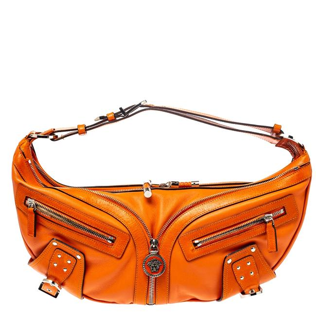 Item - Orange Leather Double Pocket Zip Hobo Bag