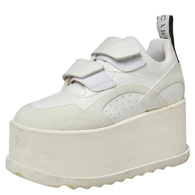 Item - White Faux Leather and Suede Eclypse Platform Sneakers Size 36.5 Athletic