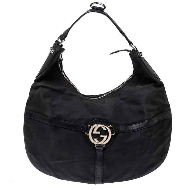 Item - Canvas and Perforated Leather Reins Hobo Bag