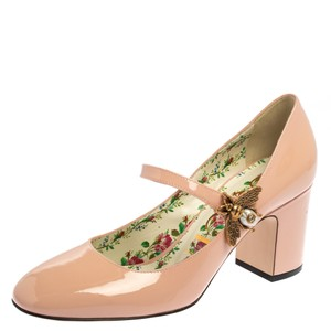 Gucci Pink Patent Leather Lois Bee Mary Jane Size 37 Pumps